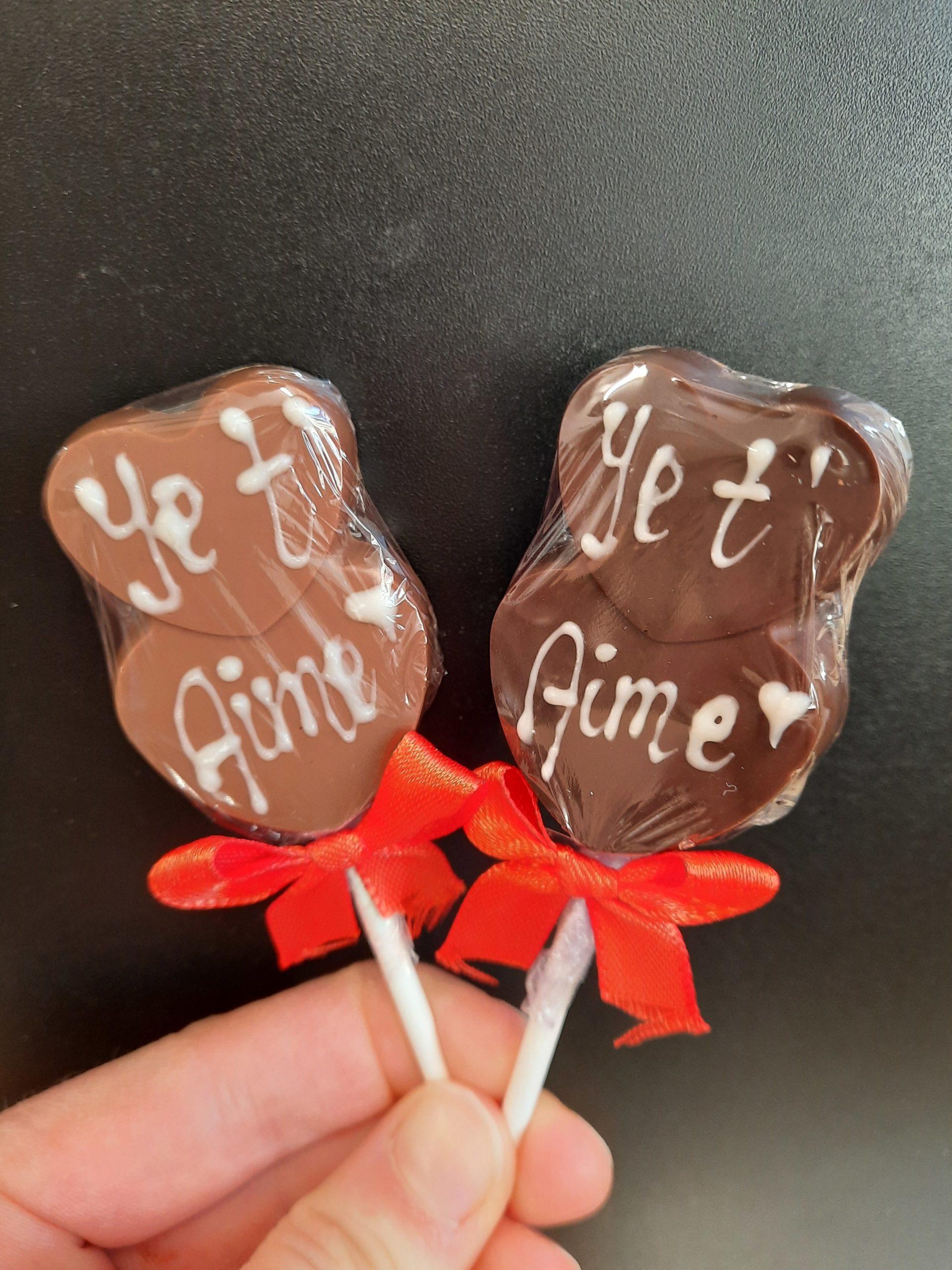 Sucettes chocolat St-Valentin